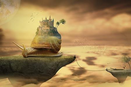 snail castle on floating island during golden hour