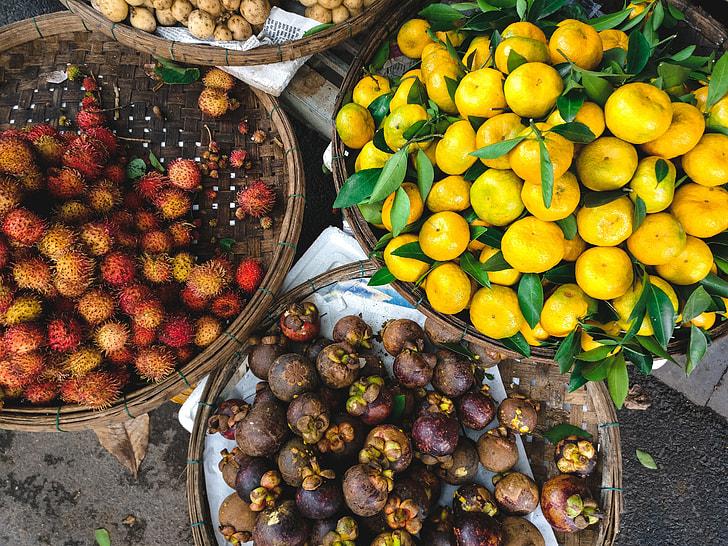 Exotic Asian fruit at a market