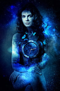 woman surrounded with butterflies with clock in the chest digital wallpaper