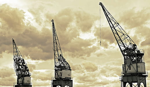 Architectural Photography of White and Black Metal Crane