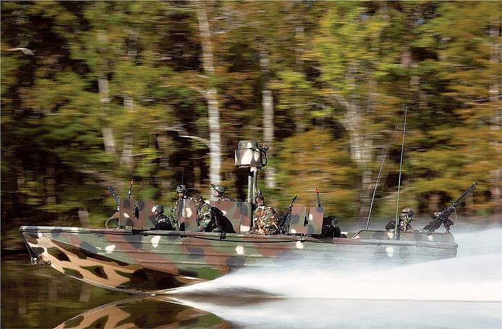 woodland camo speedboat