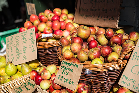 Apples on a market stall in Central London