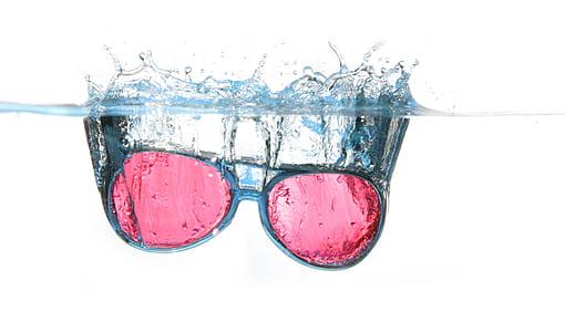 Black Framed Red Aviator Sunglasses on Water