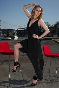 women's black plunging dress