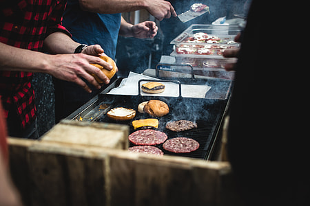 Beef burger barbeque outside