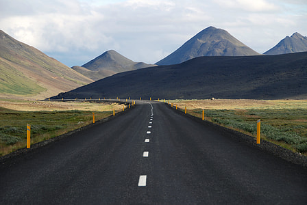 landscape photography of empty road under white clouds