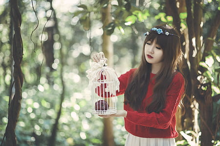 woman holding bird cage on forest