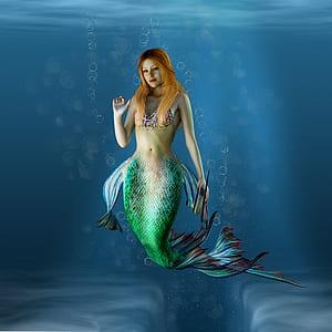 blonde-haired mermaid graphic wallpaper