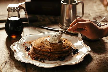 pancake on white ceramic plate