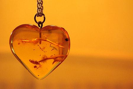 heart-shaped glass pendant