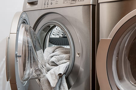 two grey washer dryer set