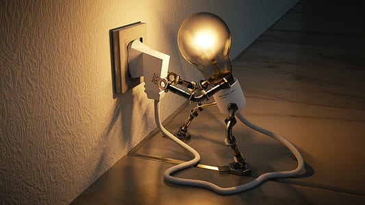 light bulb plugging itself