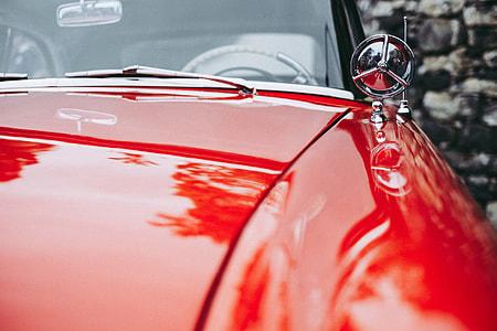 Closeup shot of an old classic car