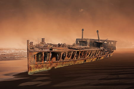 rusty ship on ocean