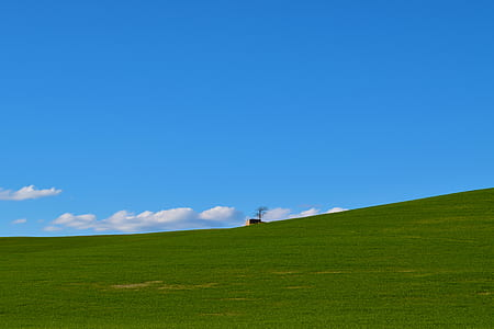 green grassfield with brown house in the middle under blue sky