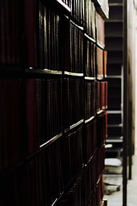 brown wooden shelves filled with books
