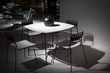 organized table and chairs