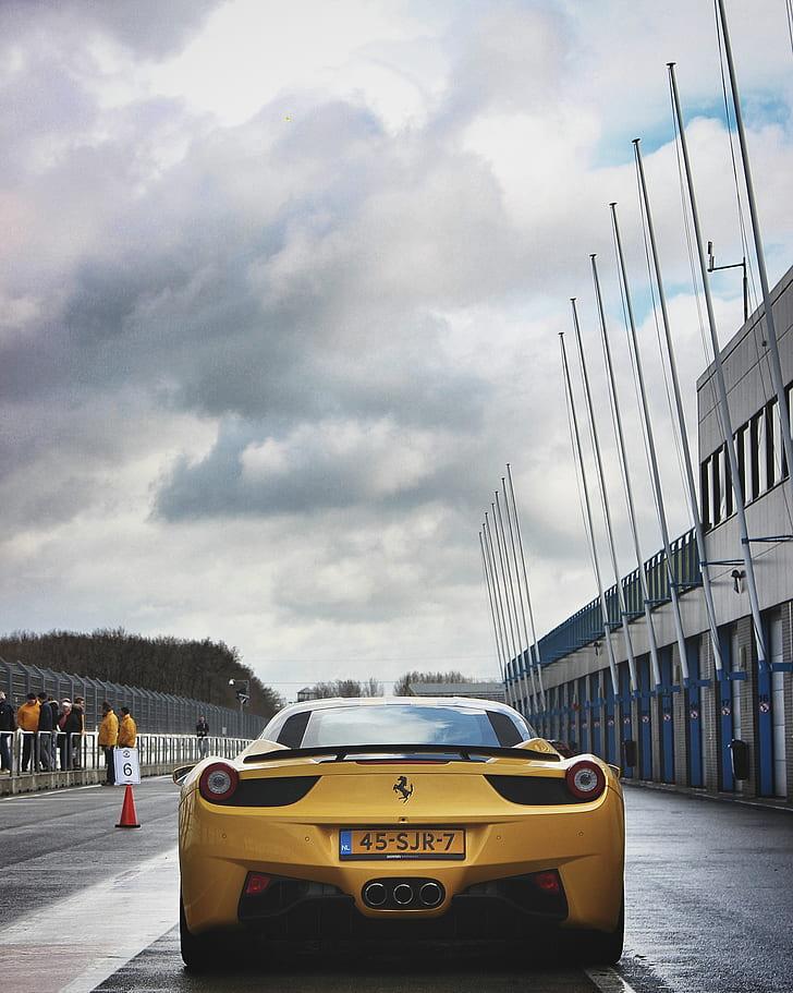 Yellow Ferrari Laferrari on Road