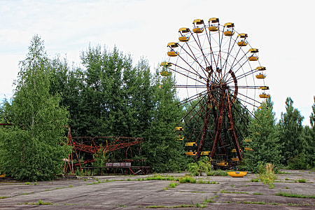 brown amusement park ride near trees