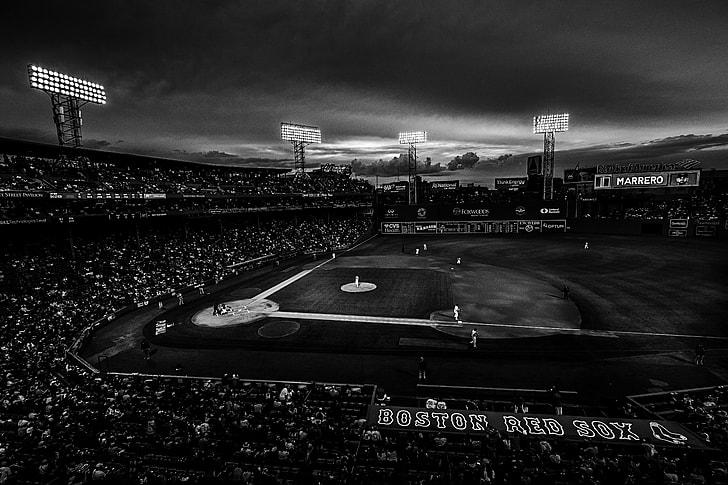 grayscale photography of baseball stadium