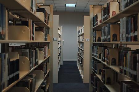 assorted books on beige wooden shelf
