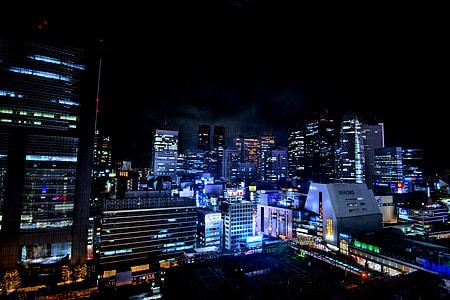skyscraper during nighttime