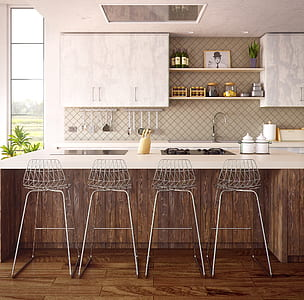 four gray bar stools beside kitchen table