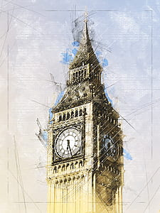 photo of Big Ben painting