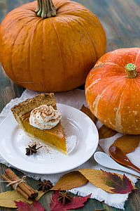 two pumpkins besides pumpkin pie on white ceramic plate near brown and white spoons