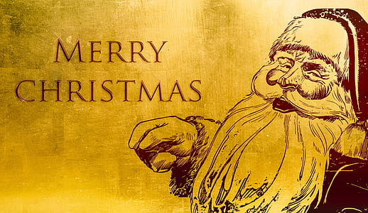 Santa Claus with Merry Christmas text illustration