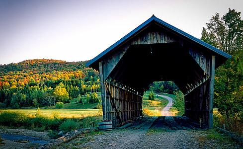 grey wooden tunnel on bridge