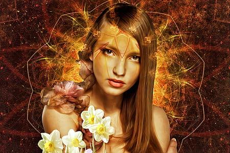 woman holding white petaled flower graphic art