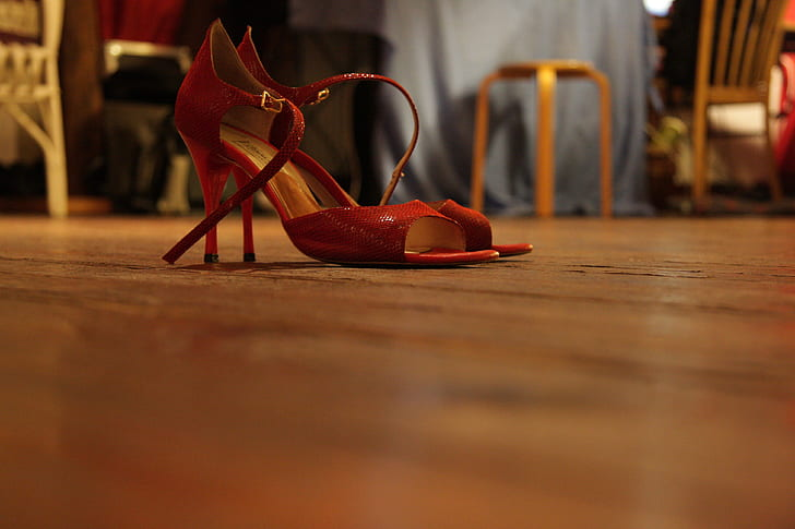 photo of red open-toe ankle strap pumps