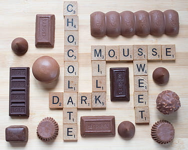 chocolates and brown blocks with letters