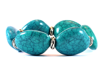 blue and silver-colored bracelet