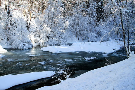 snow-covered river during winter