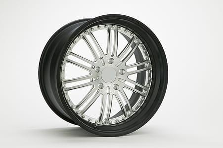 shallow focus of silver car wheel