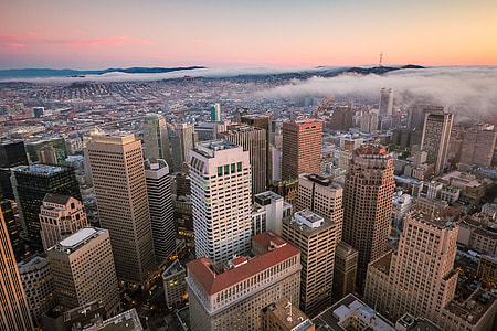 Sunset View Over San Francisco Skyscrapers in Financial District