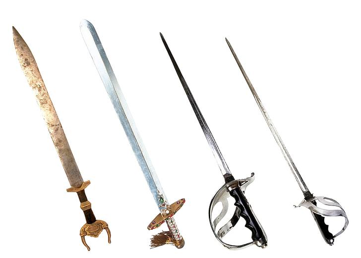 four assorted swords
