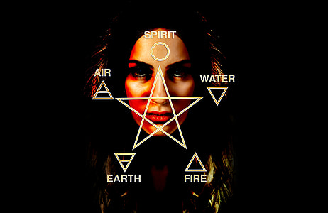 spirit, water, air, earth, and fire text with woman's portrait