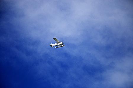 white monoplane on sky