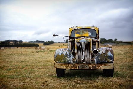 classic brown, gray, and black car on brown grass field