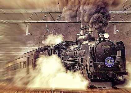 focus photo of black charcoal train