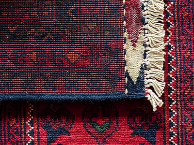 red and black textile