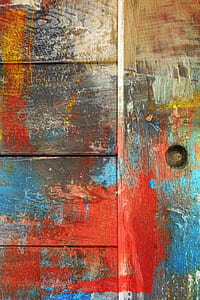 red and blue painted wood