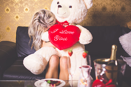 Happy Girl with Teddy Bear: Happy Valentine's Day!