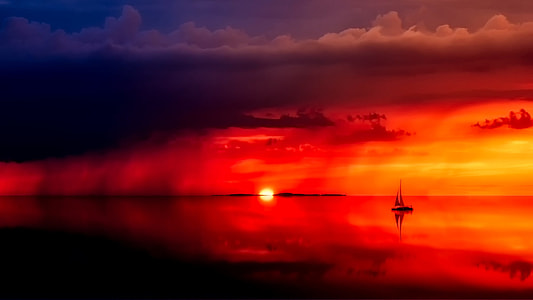 silhouette photo of sailboat