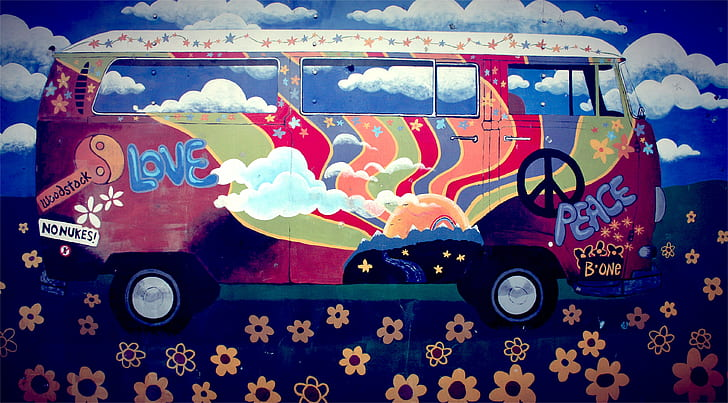 multicolored floral Volkswagen vehicle