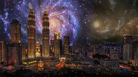 Petronas Twin Tower, Singapore, city, kong kuala, building, twin towers