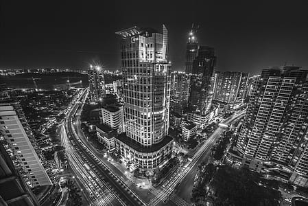 City Buildings at Night Time